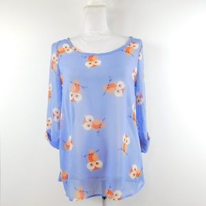 Peach love cream owl bird sheer blouse top small